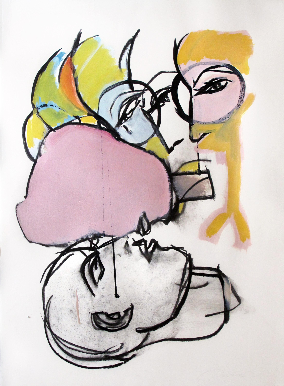 DECREME_Le-baiser-I-Huile-fusain-et-encre-sur-papier-56x76-2008