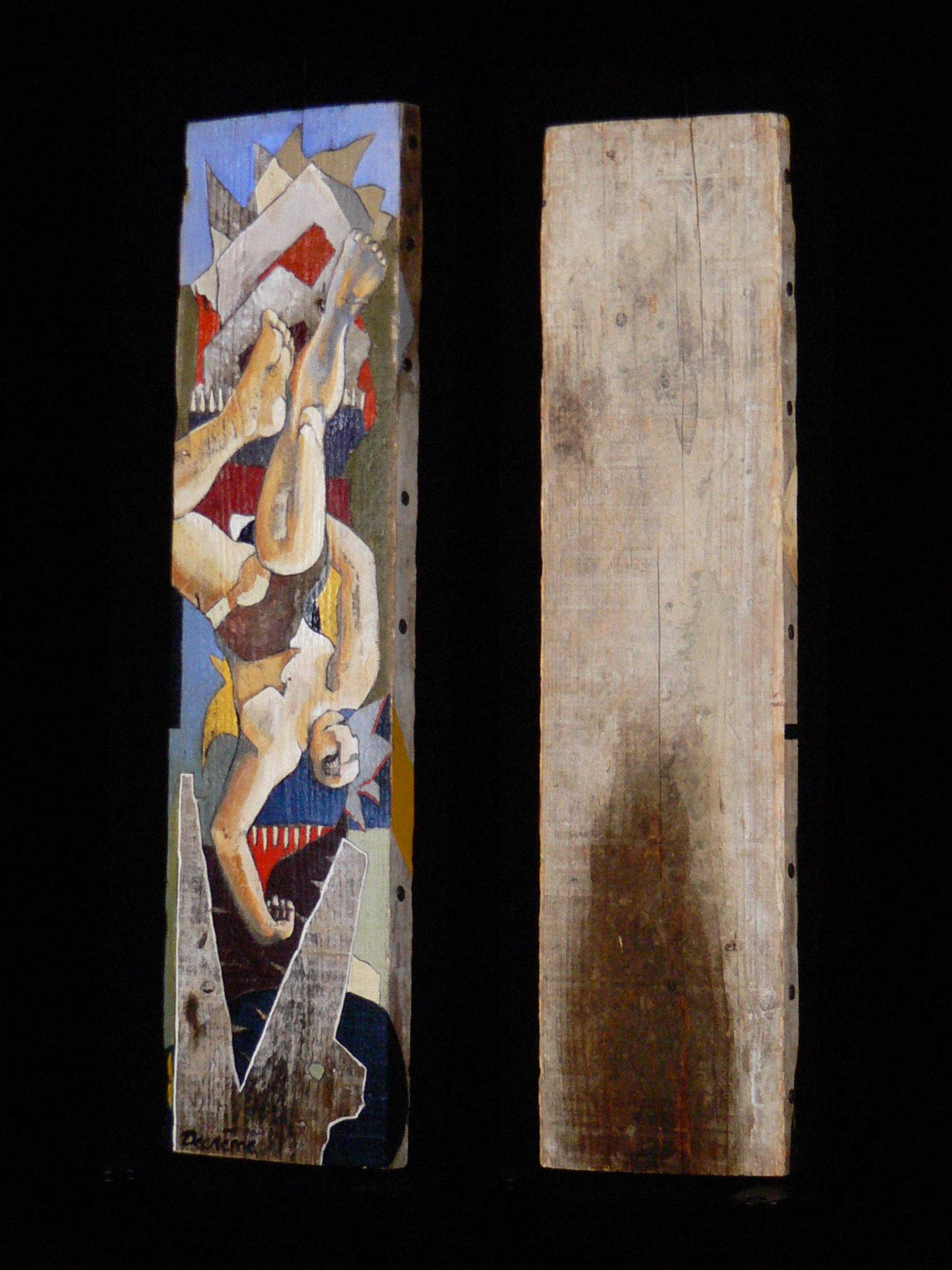 DECREME-2-Icare-II-peinture-sur-bois-80x25x8cm-1994