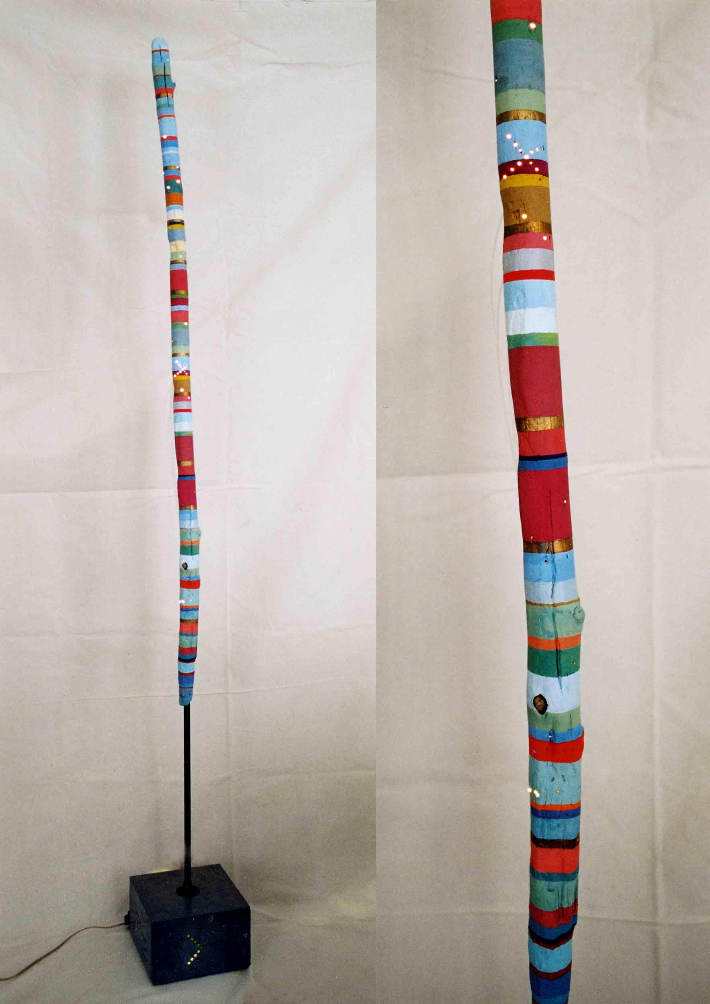 DECREME-Baton-de-pluie-Peinture-et-fibre-optique-sur-bois-190xDiam7cm-1995