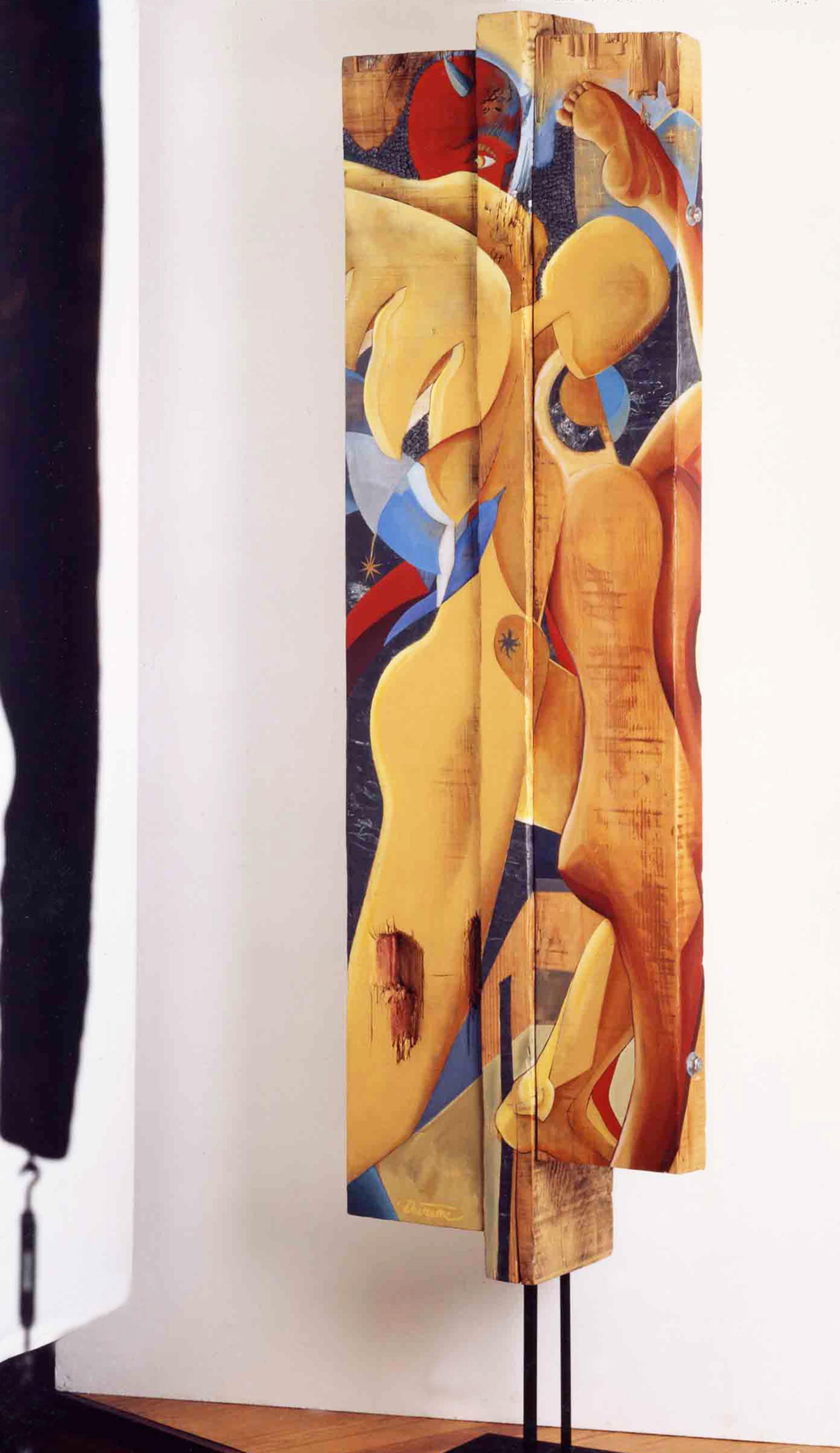DECREME-Constellation-triangulaire-peinture-plomb-et-clous-sur-bois-210x57x25cm-1994