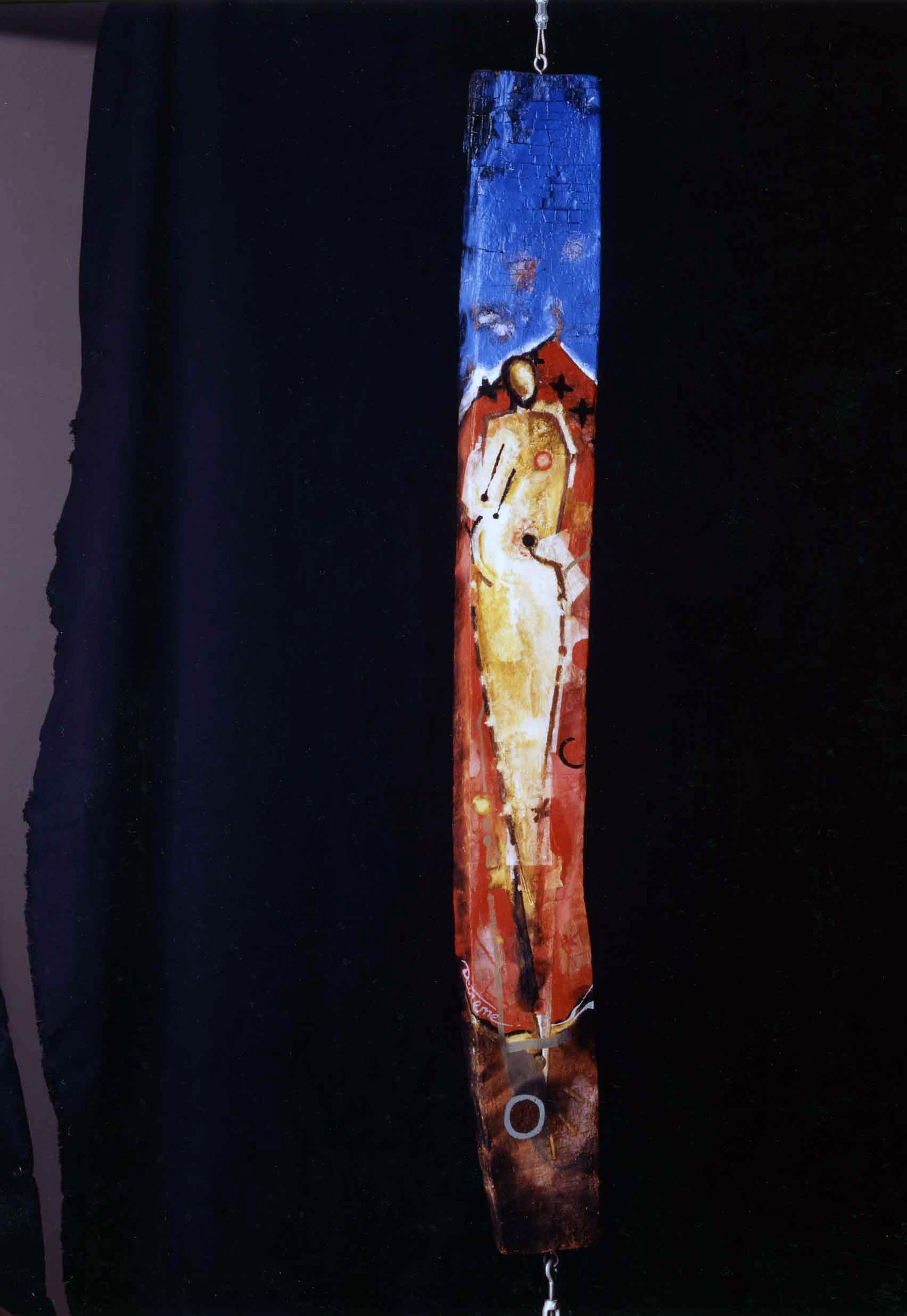 DECREME-Entre-ciel-et-terre-Technique-mixte-sur-bois-d'amandier-106x4x18cm-1994