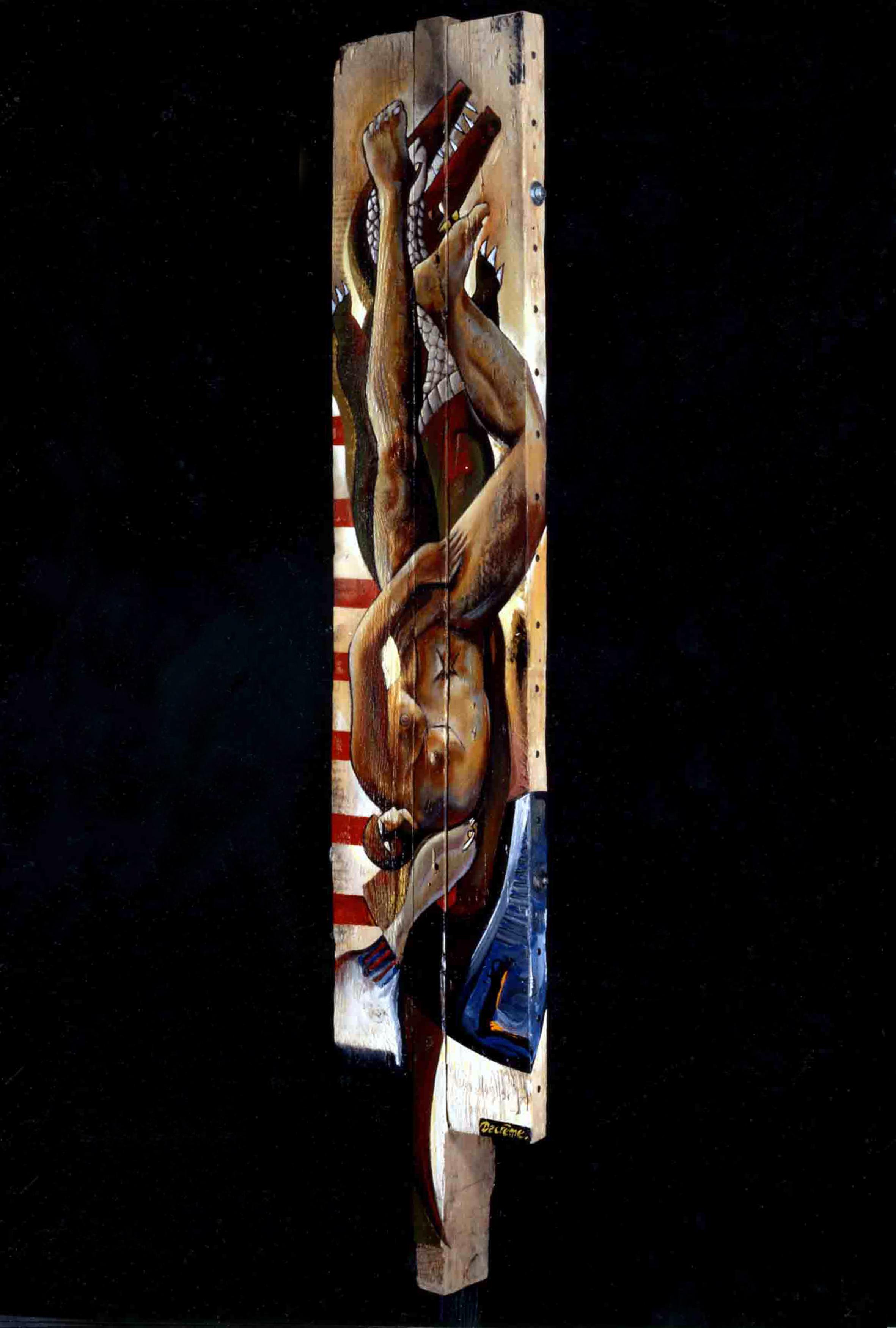 DECREME-Icare-peinture-et-clous-sur-bois-200x57x25cm-1994