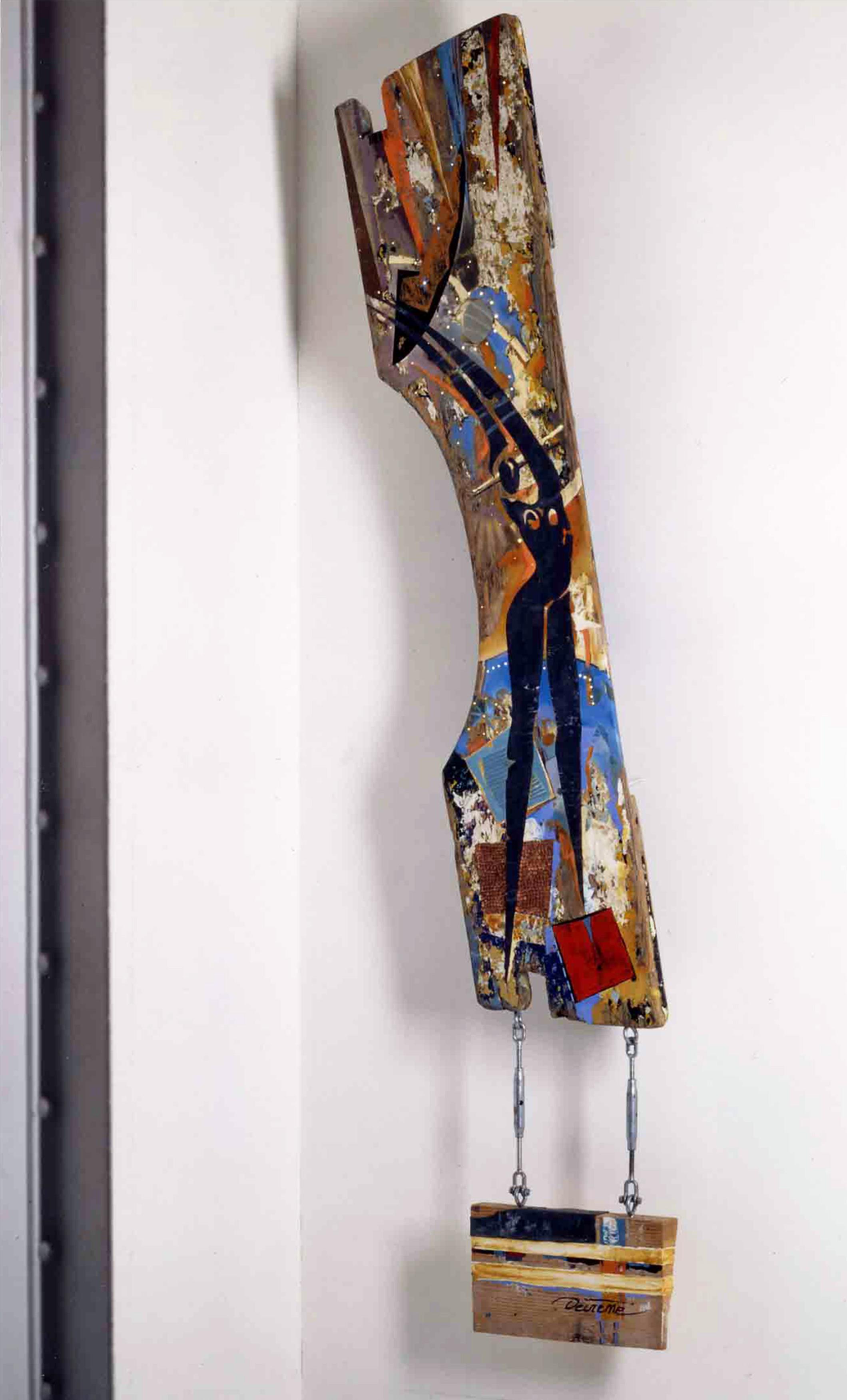DECREME-Lumiere-Peinture-bois-plomb-cuivre-et-fibre-optique-180x50x20cm-1994